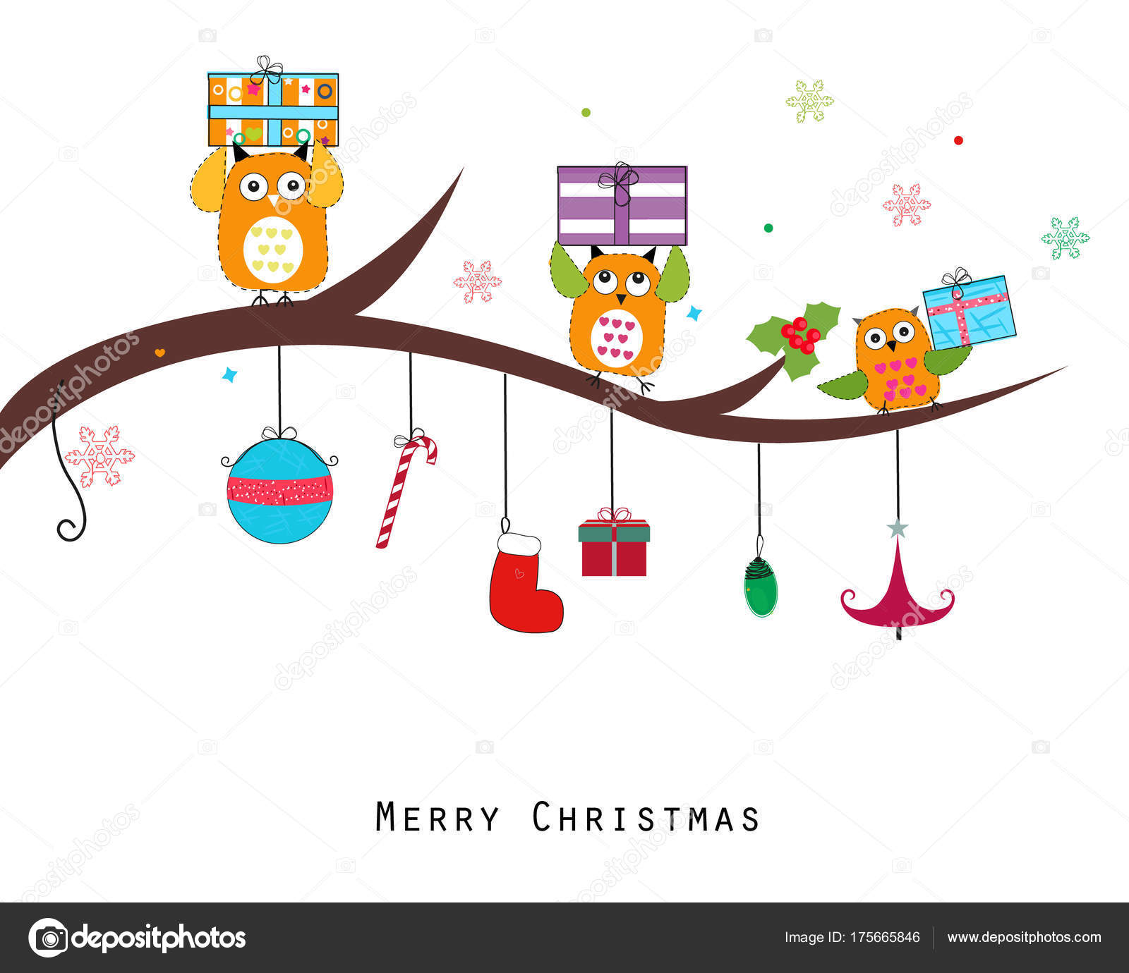 owl gift box merry christmas happy new year greeting card stock vector