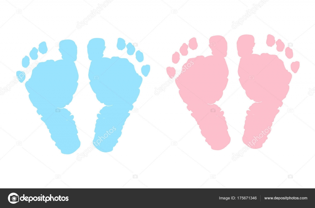 baby foot prints blue pink baby girl baby boy twin stock vector