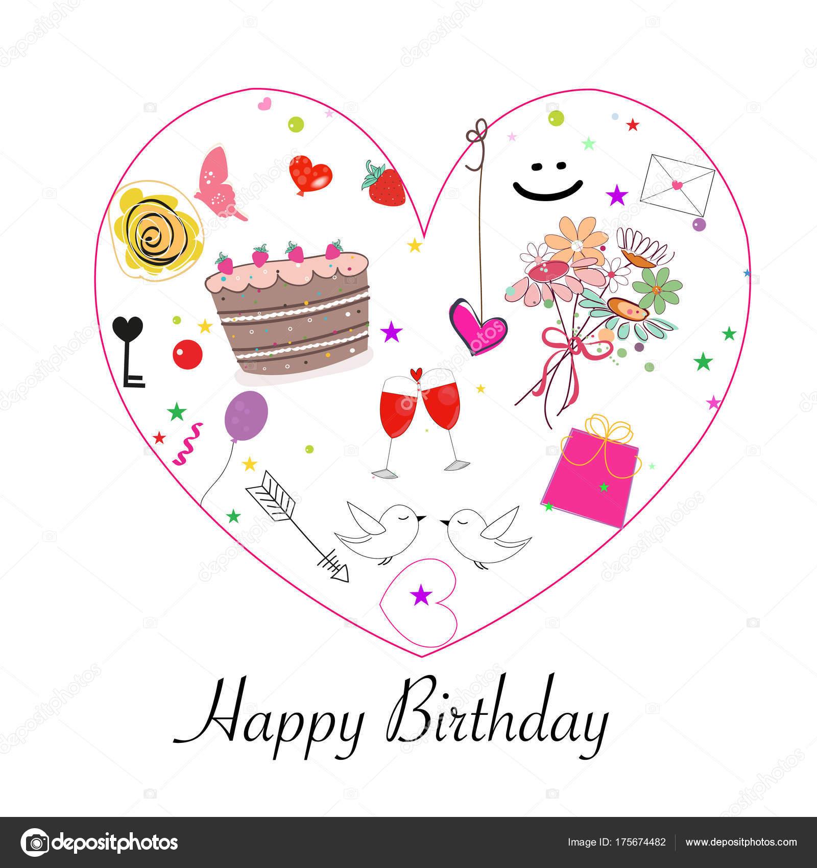 Happy Birthday Greeting Card Cake Flowers Balloon Love Wine Gift