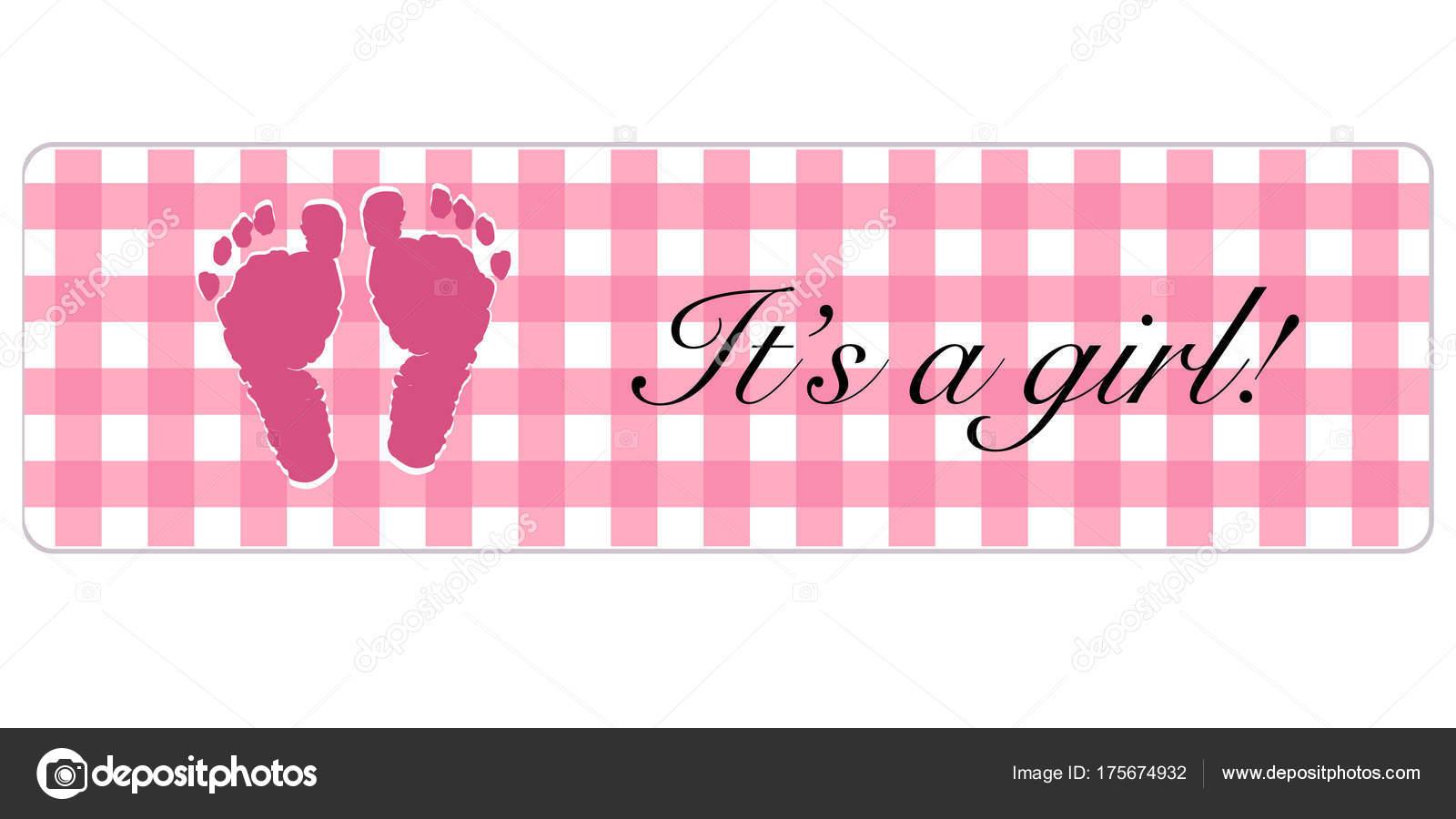baby girl banner baby shower banner foot prints stock vector