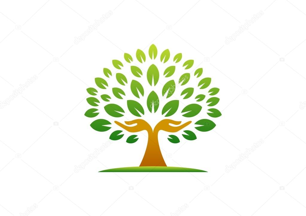 hand tree logo natural hands tree wellness concept icon