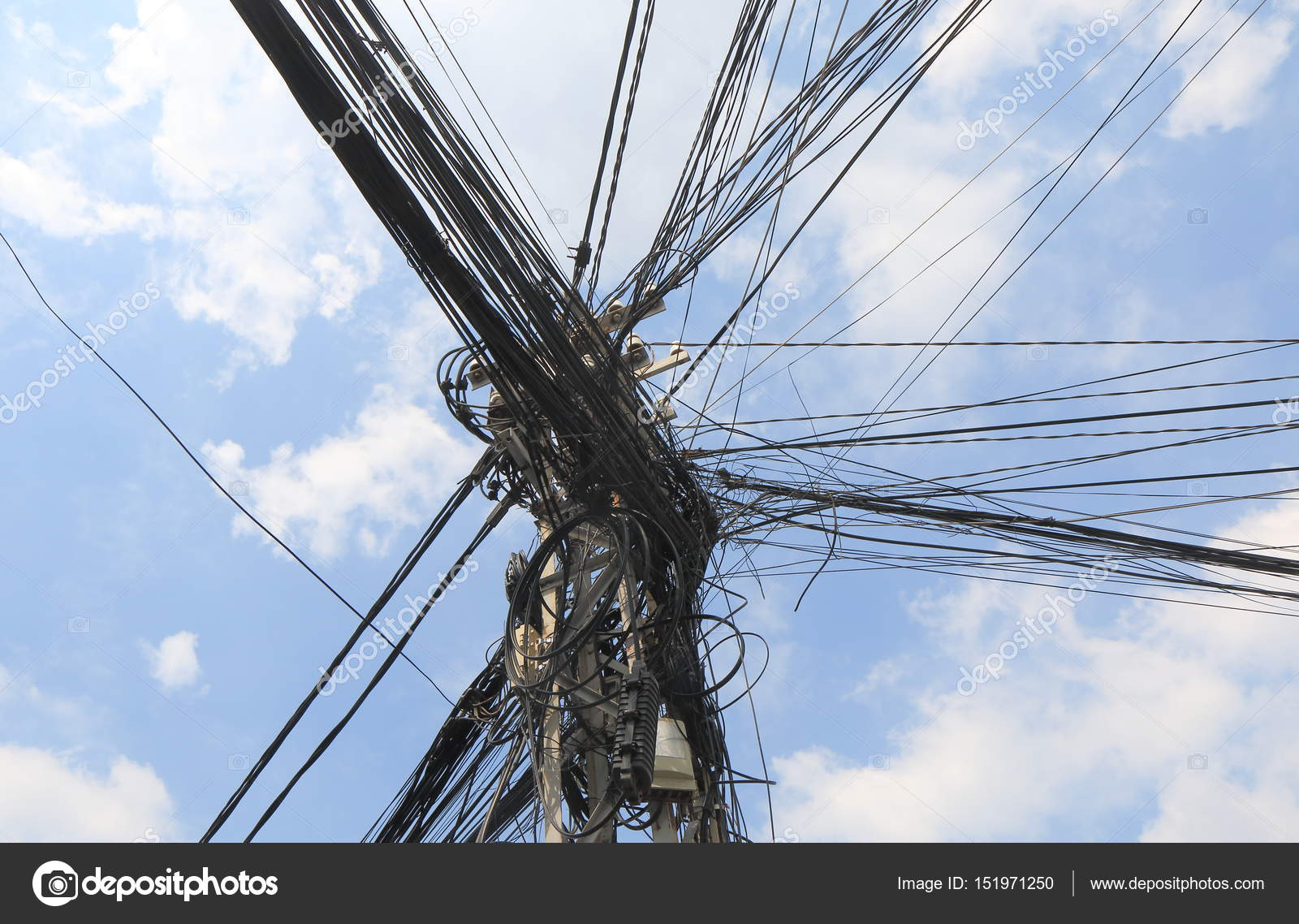 Electric wire telephone pole Vietnam — Stock Photo © TKKurikawa ...