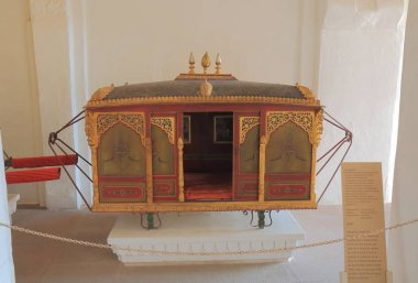 JODHPUR INDIA - OCTOBER 18, 2017: Palanquin display at Mehrangarh Fort museum in Jodhpur.