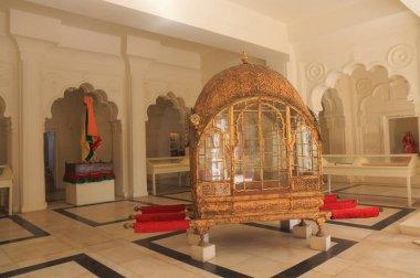 JODHPUR INDIA - OCTOBER 18, 2017: Palanquin display at Mehrangarh Fort museum in Jodhpur.