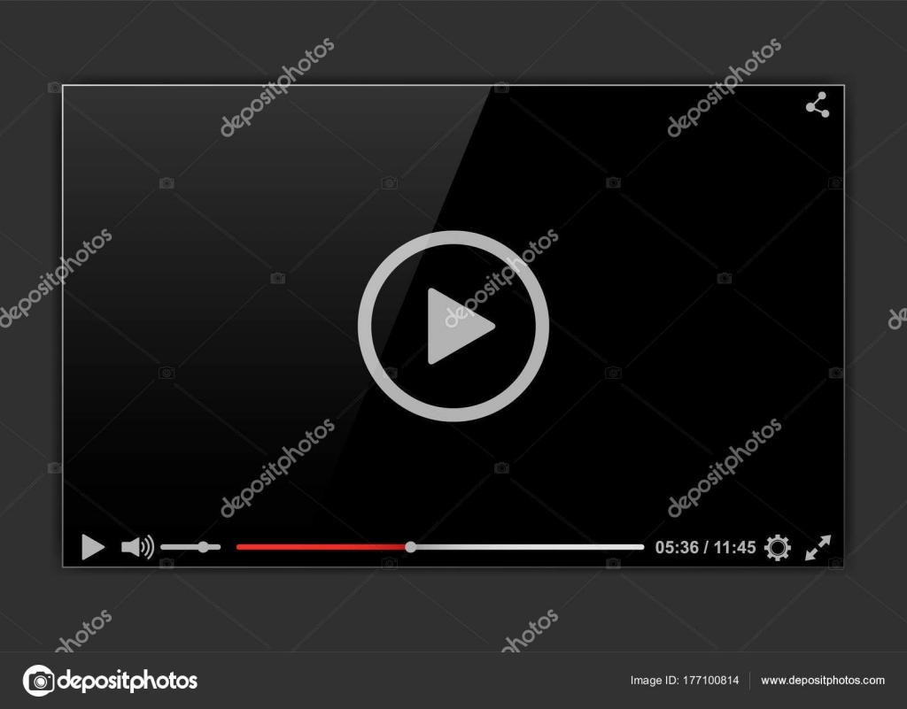 Moderne video-Frame. Video-Player-Schnittstelle Mokup oder Web ...