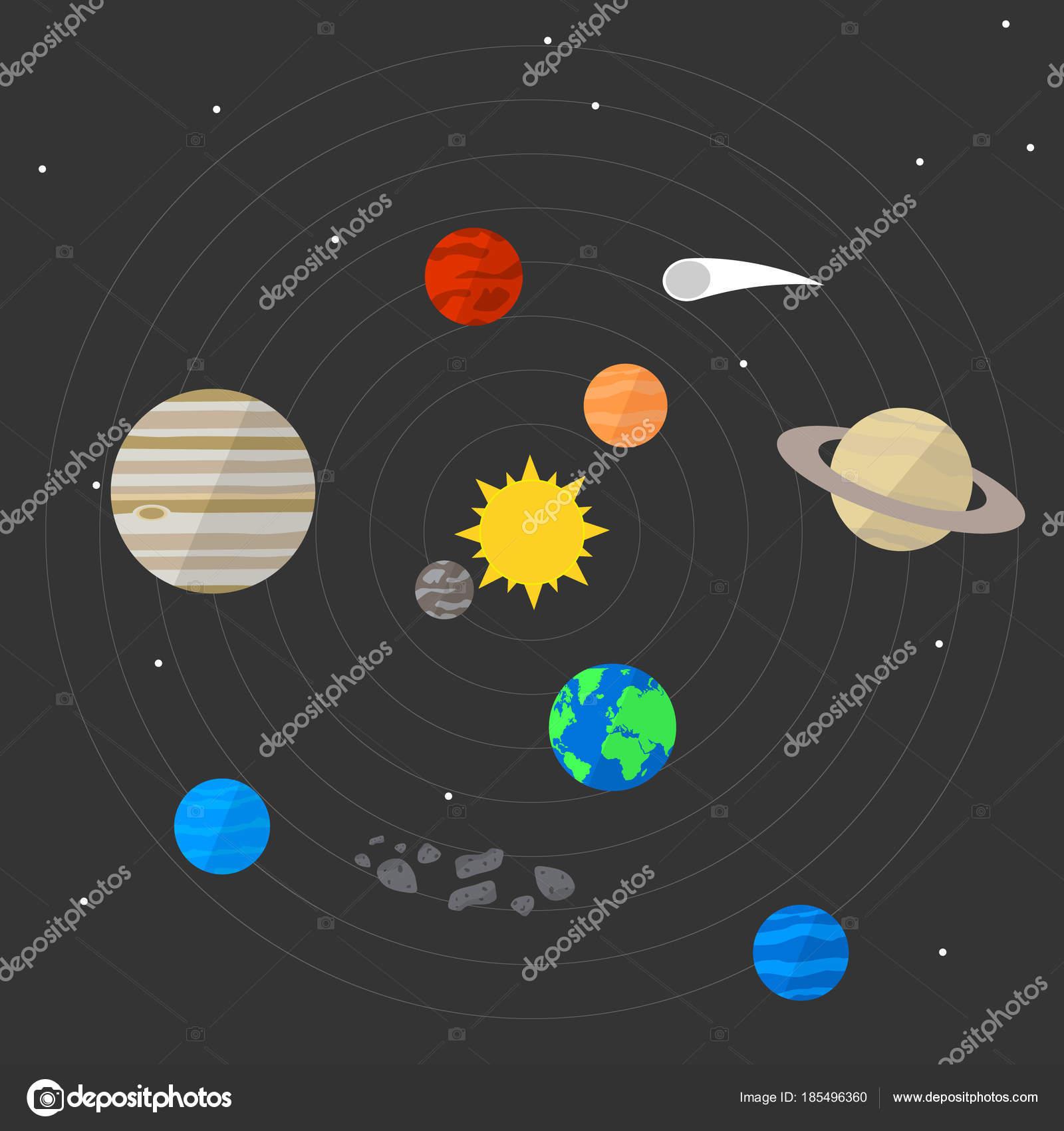 Vector illustration solar system on a background of space with vector illustration solar system on a background of space with stars the sun and ccuart Choice Image