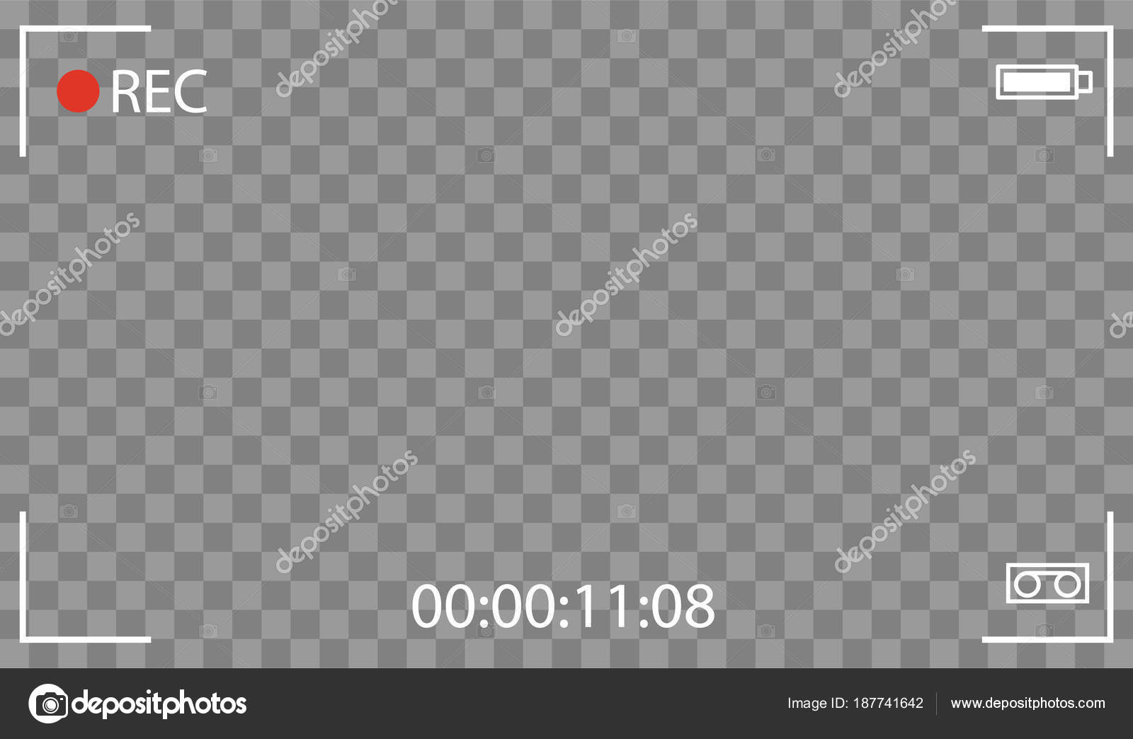 Vector negro transparente rec interfaz visor cámara con los ajustes ...