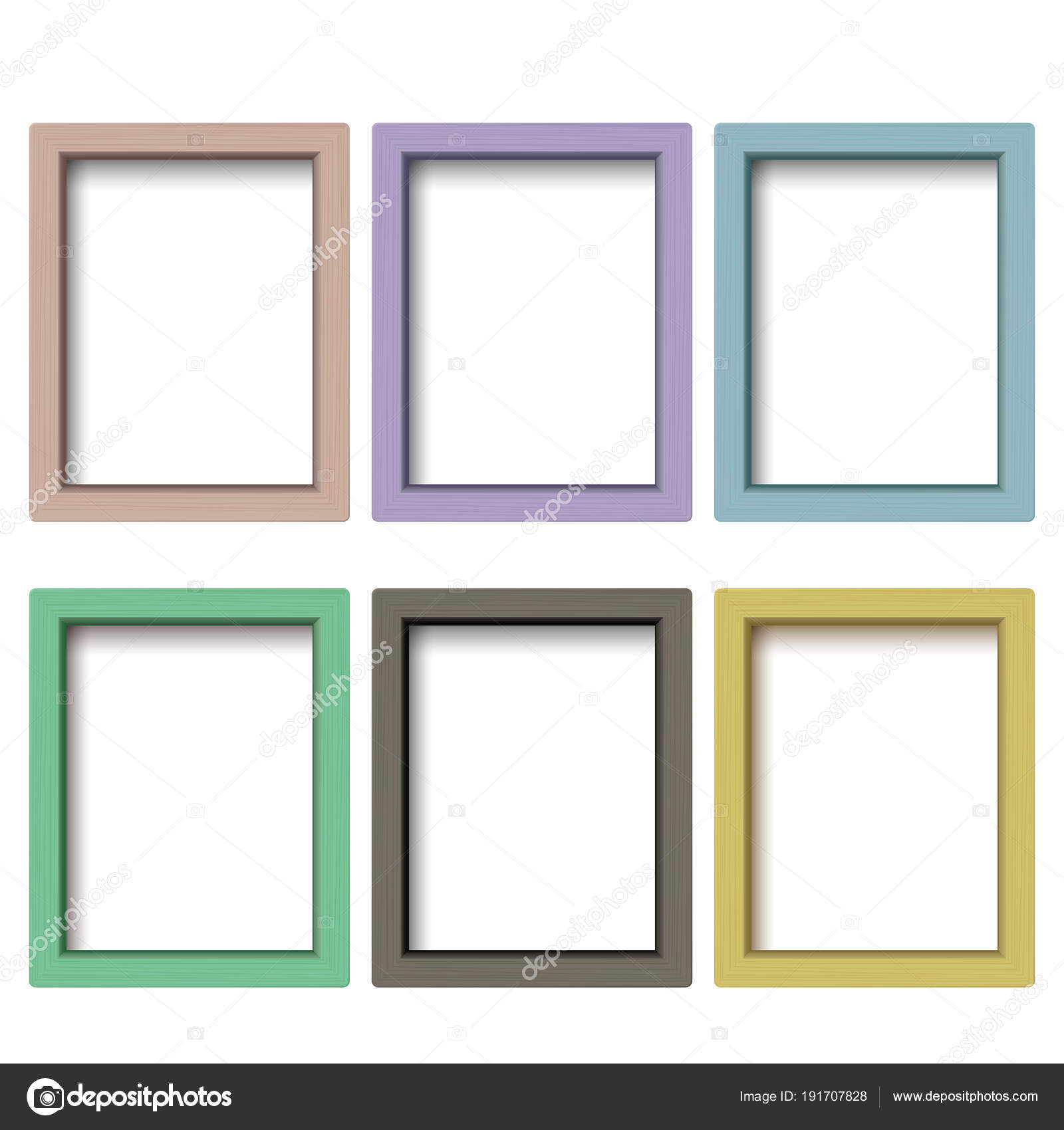 Reihe von bunten Holzrahmen. Quadratischer Holzbilderrahmen von ...