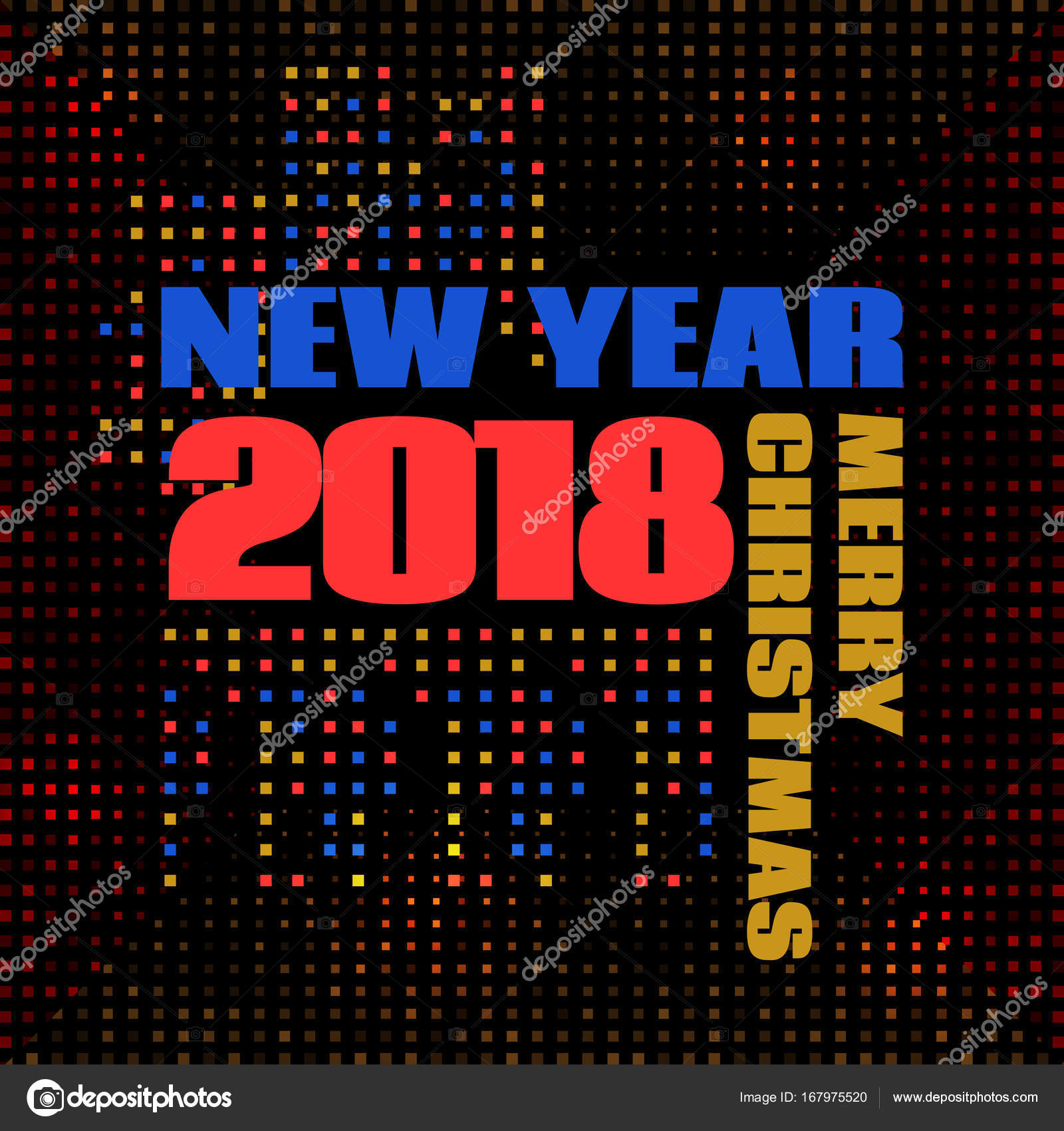 happy new year banner 2018 numbers bright background memphis style