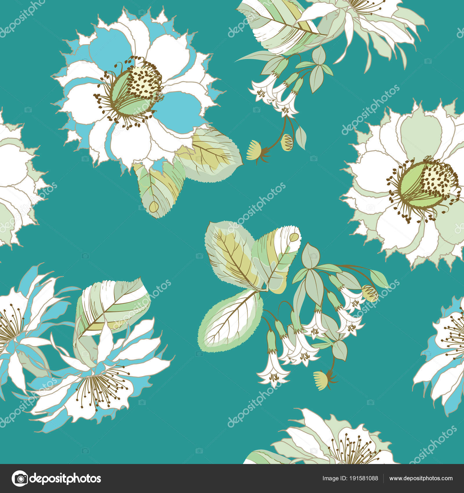 Exotic Flower Wallpaper Seamless Pattern Floral Ornament Exotic