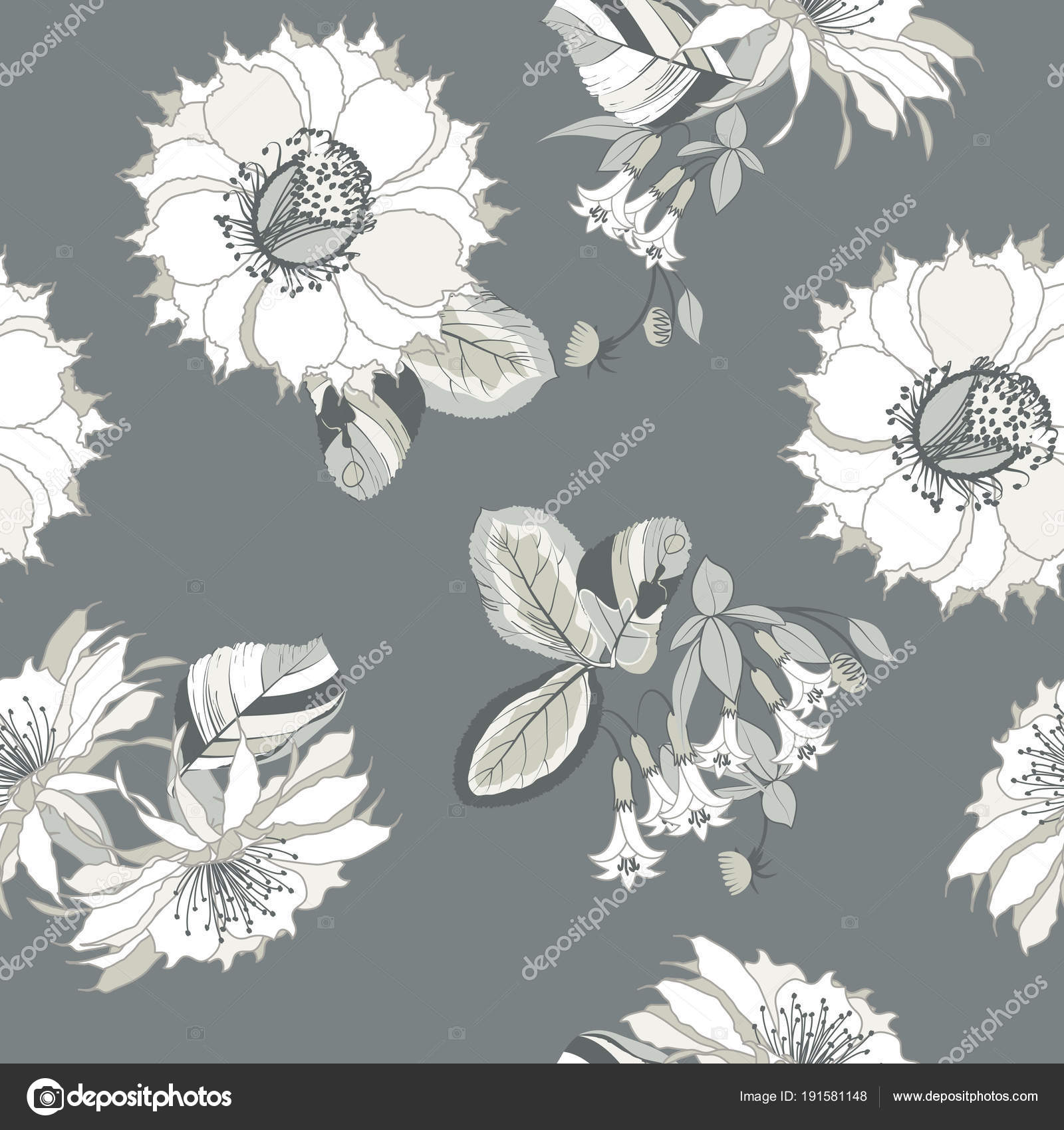 Seamless Pattern Floral Ornament Exotic Flower Tropical Leaves