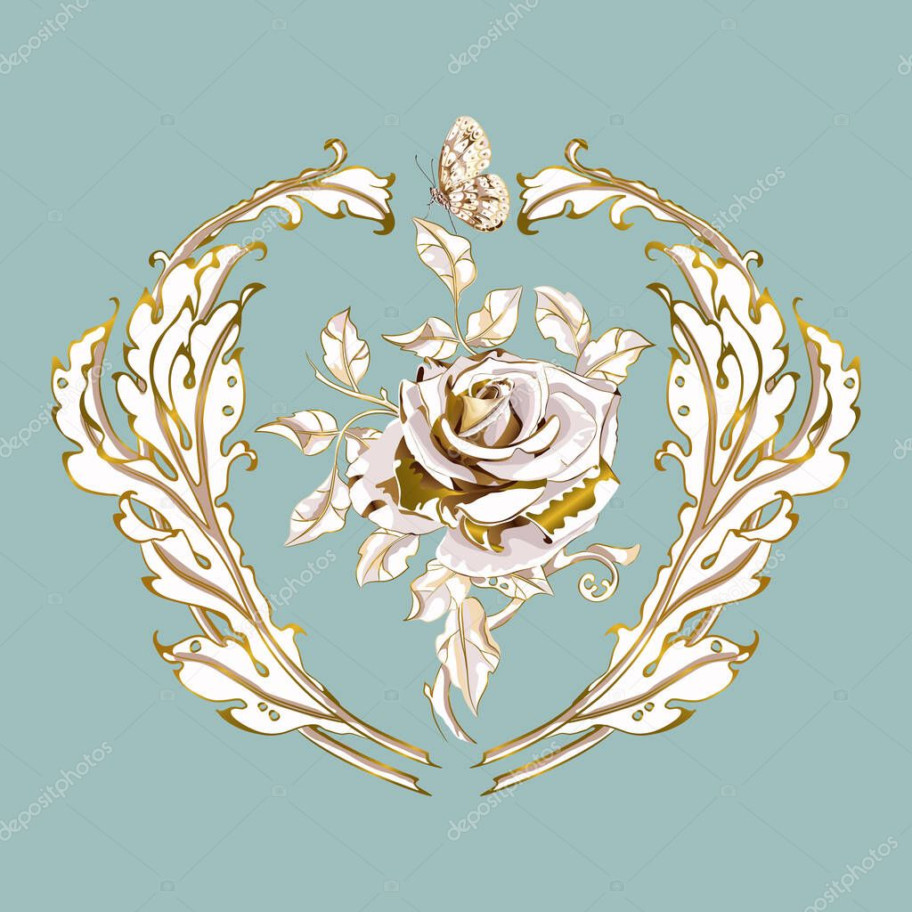 antique ornament in style baroque of acanthus leaves and gorgeous rose monogram floral leaf scroll engraved retro flower pattern vector gold on blue premium vector in adobe illustrator ai antique ornament in style baroque of
