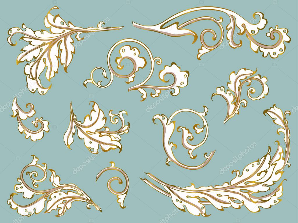 antique ornament in style baroque of acanthus leaves monogram floral leaf scroll engraved retro flower pattern vector set gold on blue premium vector in adobe illustrator ai ai antique ornament in style baroque of