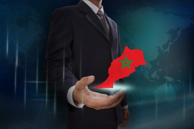 Businessman with map and flag of Morocco