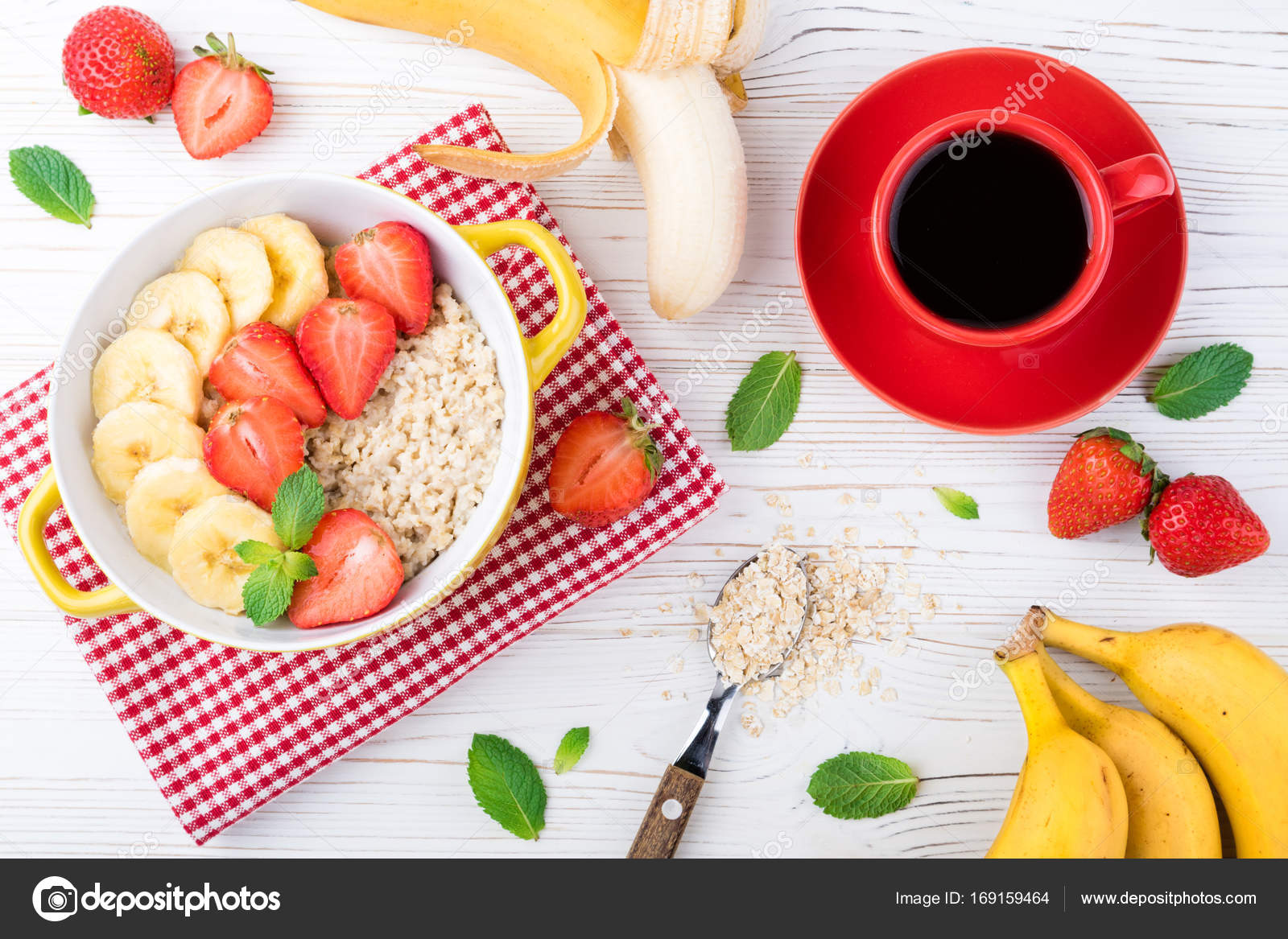 Breakfast With Oatmeal Porridge With Fruits And Berries Coffee Cup Oatmeal With Strawberries And Banana Healthy Breakfast Concept Stock Photo Image By C Lanasweet 169159464