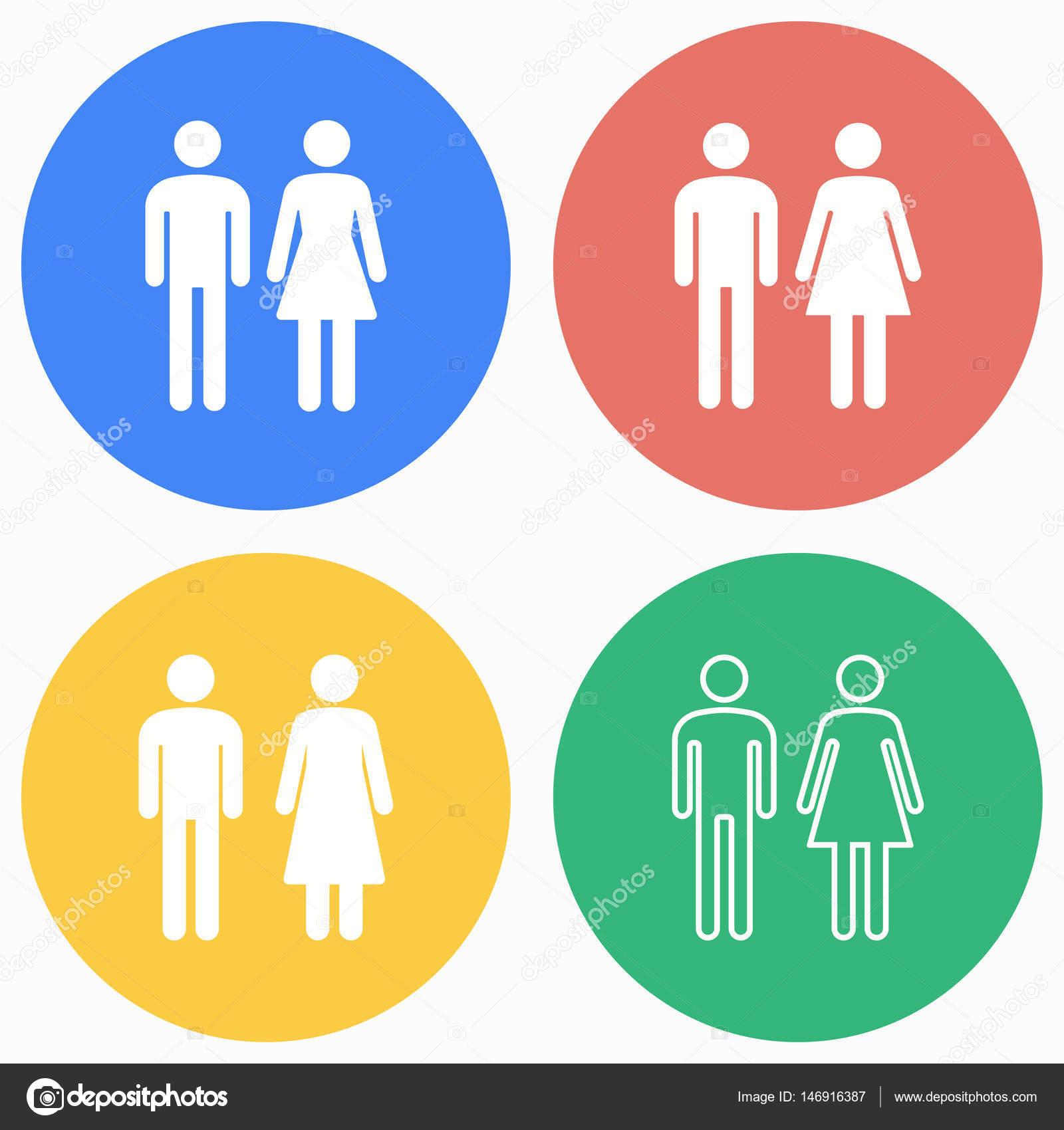 hombre y mujer baño icono conjunto — vector de stock © lovemask