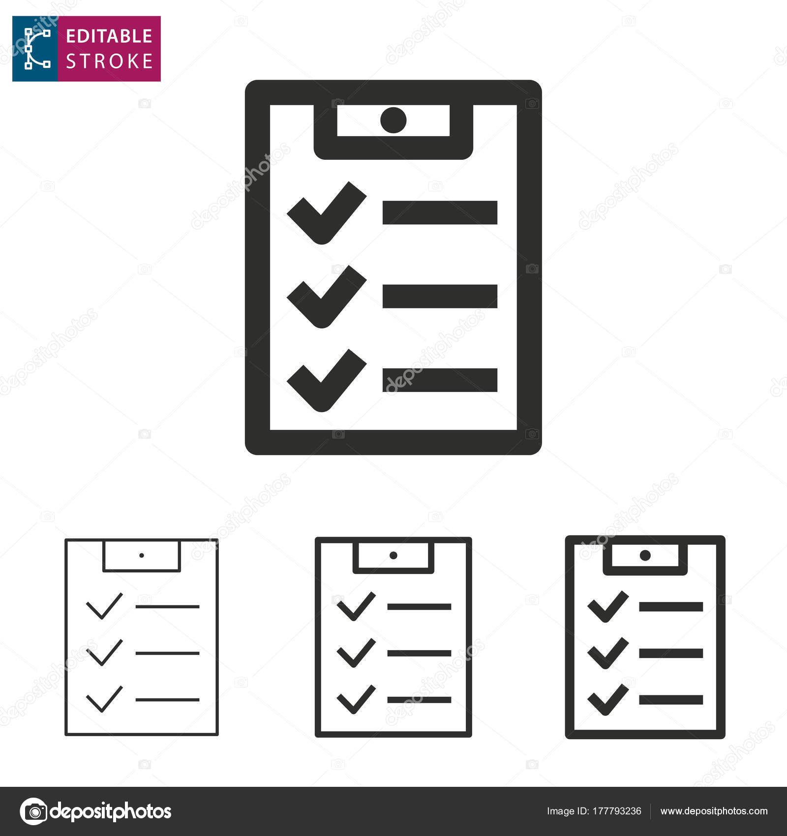 Icono de vector de línea lista de verificación. Movimiento editable ...