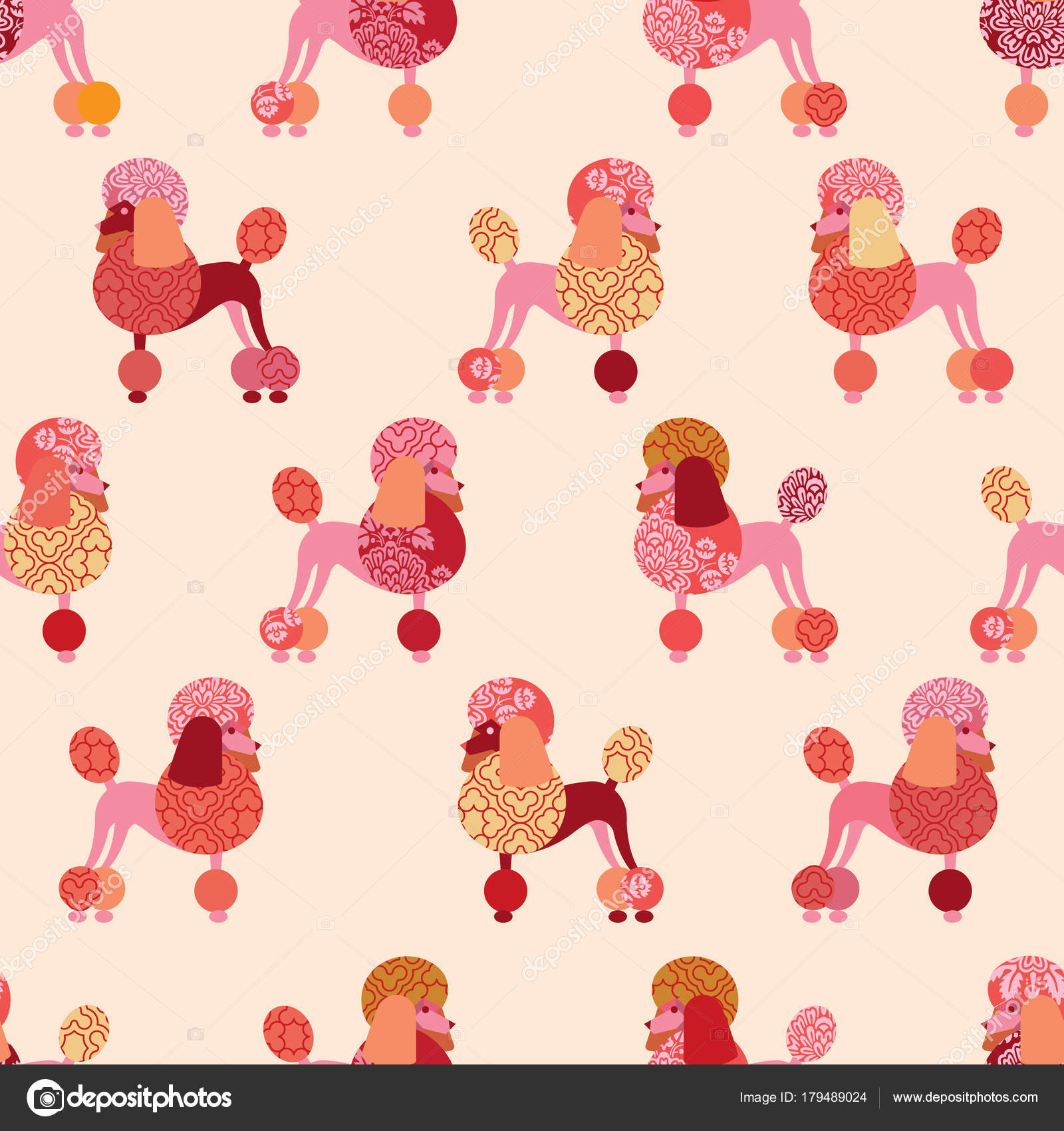 Seamless Pattern Poodles Wallpaper Wrapping Paper Fabric