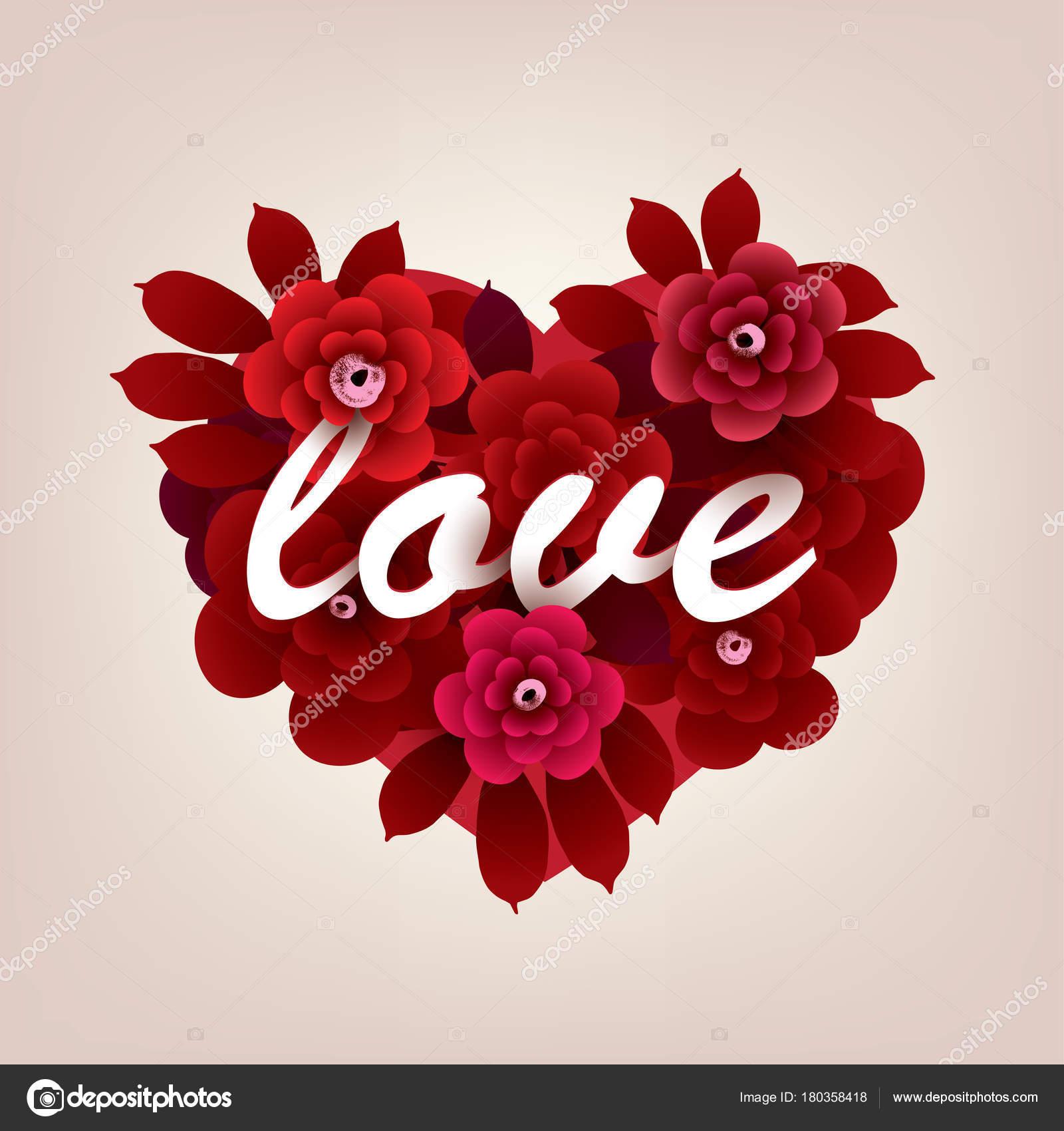 Bouquet Fleurs Forme Coeur Avec Inscription Love Illustration