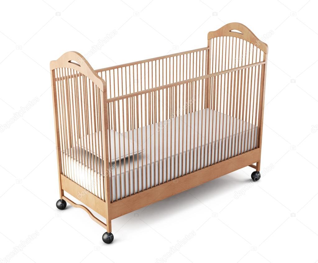 Bebé cuna madera aislado sobre fondo blanco. Render 3D — Fotos de ...