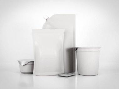 Various types for food packaging. 3d rendering
