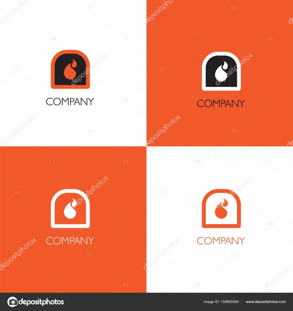 Kamin-Dienste oder Verkauf Firma Logo und Visitenkarte Vorlage ...