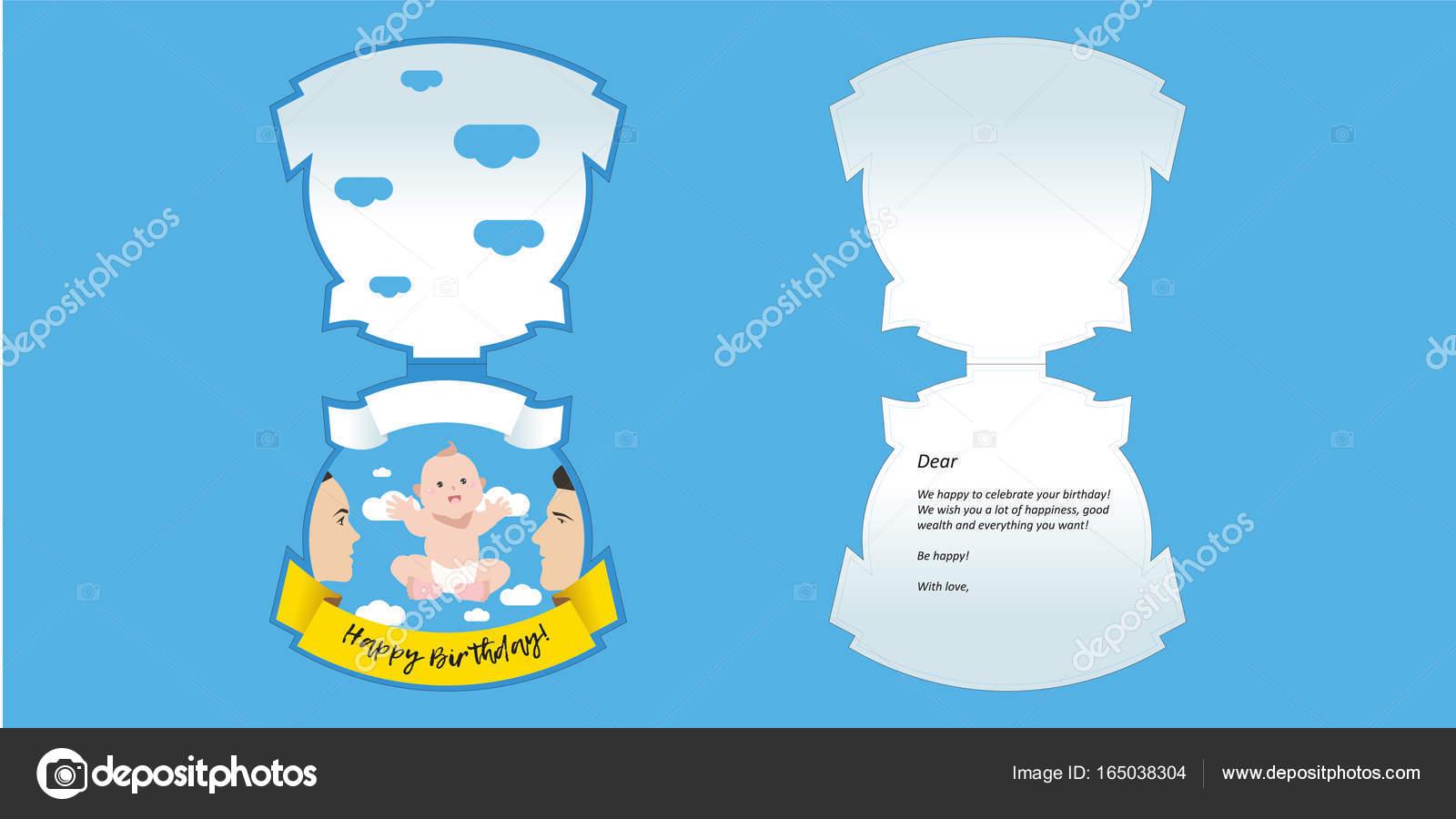 Happy Birthday Baby Shower Greeting Card Image Vectorielle Manjuna