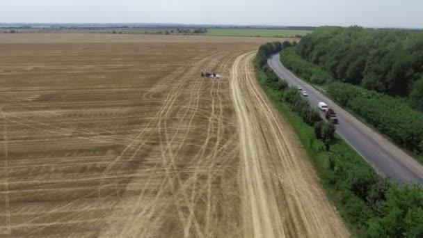 Letecký pohled na kombajn. Sklizeň z řepkové pole