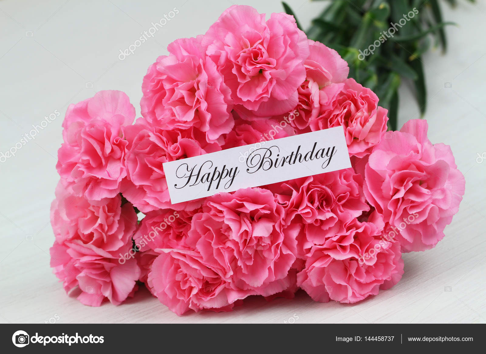 Happy birthday card with pink carnation flowers stock photo happy birthday card with pink carnation flowers stock photo izmirmasajfo