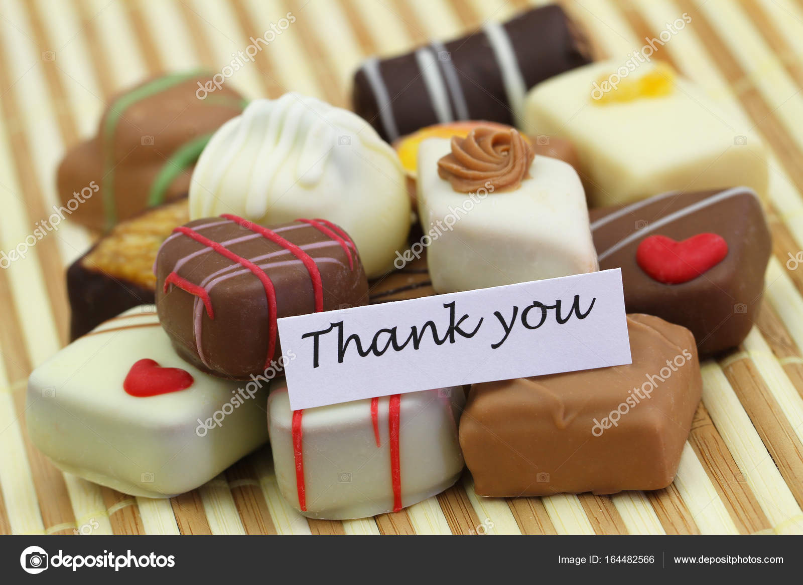 thank you card with assorted chocolates stock photo graletta