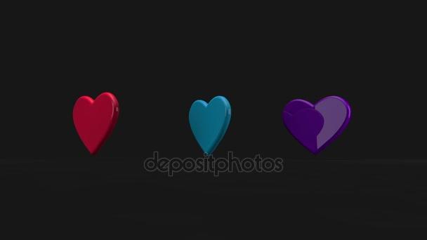 Barevné 3d srdce plovoucí