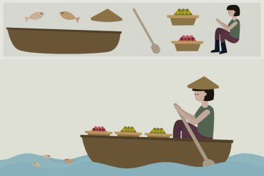 illustration a woman paddling boat.