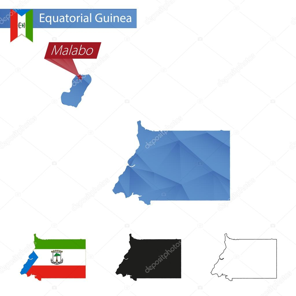 Equatorial Guinea blue Low Poly map with capital Malabo Stock