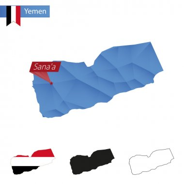 Yemen blue Low Poly map with capital Sanaa.