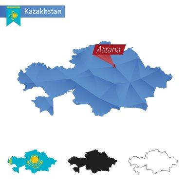 Kazakhstan blue Low Poly map with capital Astana.
