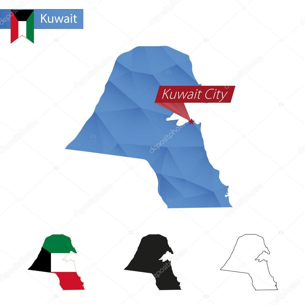 Kuwait blue Low Poly map with capital Kuwait City  — Stock