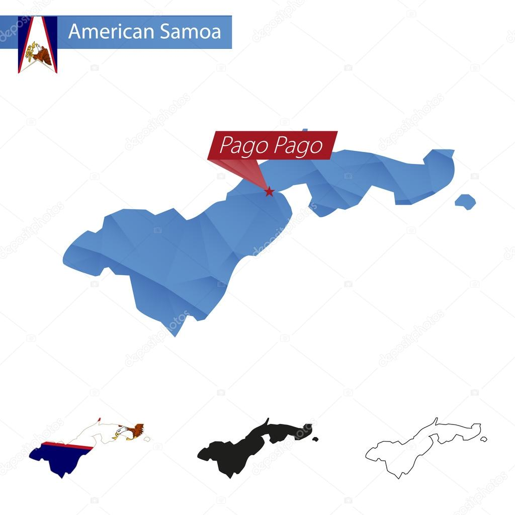 American samoa blue low poly map with capital pago pago archivo american samoa blue low poly map with capital pago pago four versions of map vector illustration vector de boldg gumiabroncs Gallery