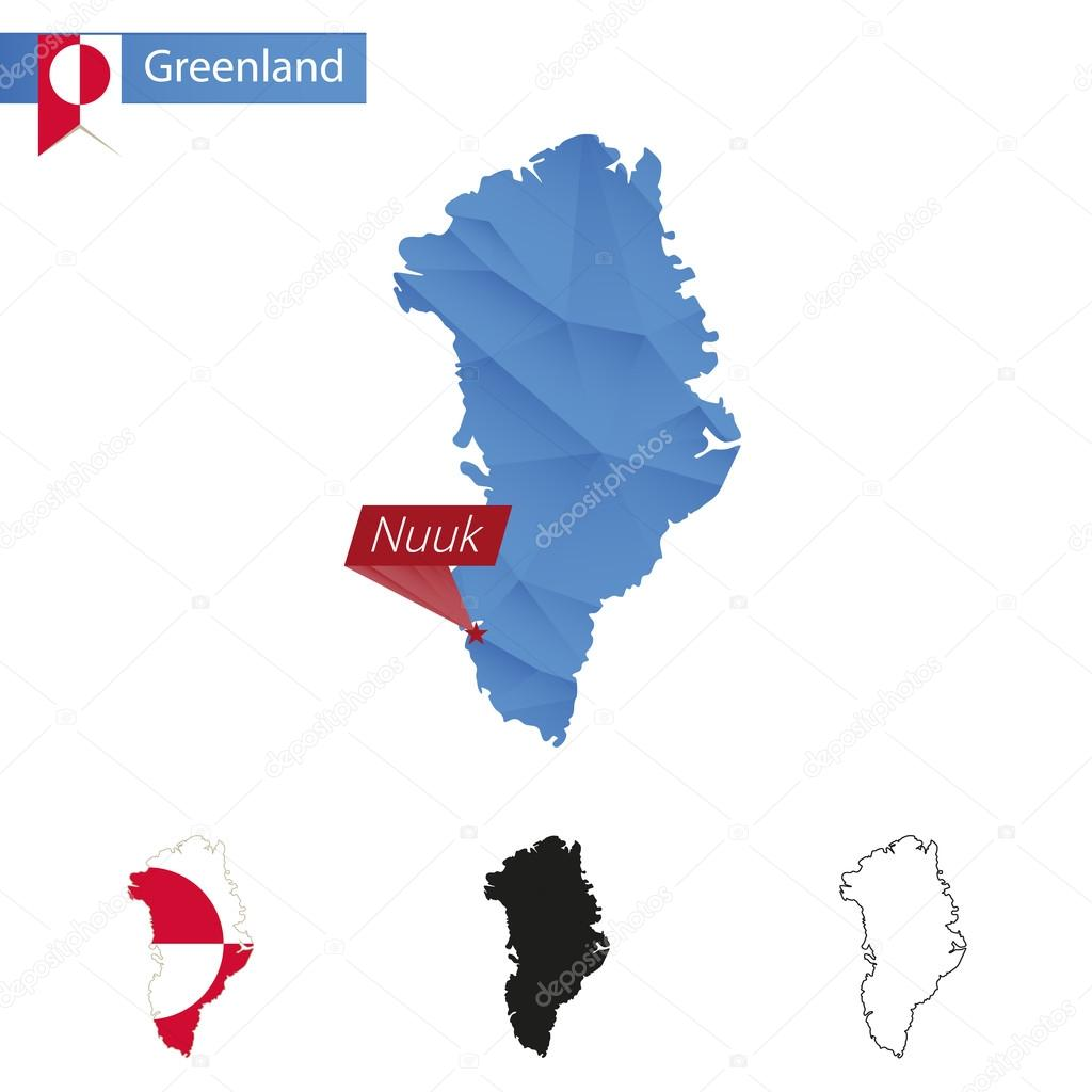 Greenland blue Low Poly map with capital Nuuk Stock Vector