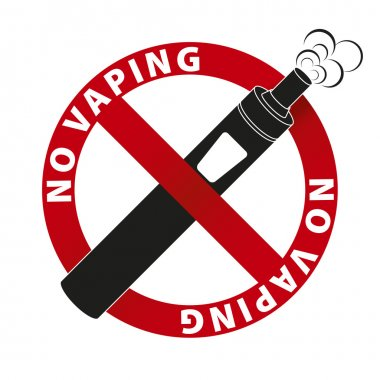 No Vaping sign and text on white background.