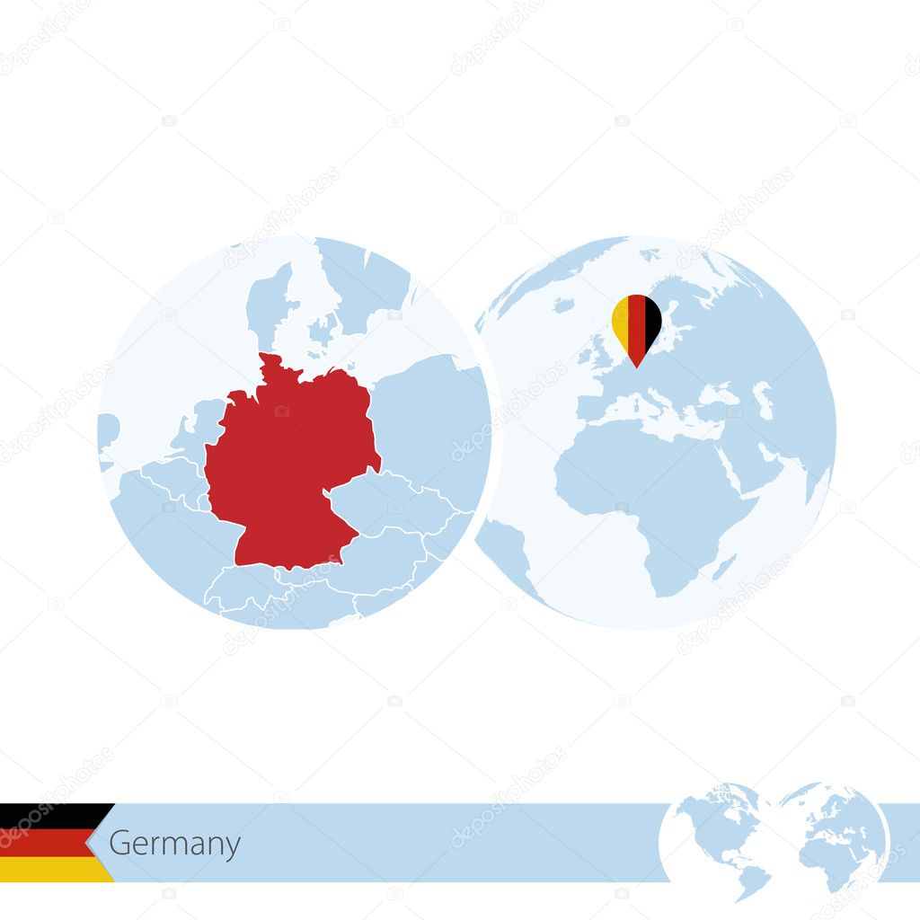 germany on world globe with flag and regional map of germany stock vector