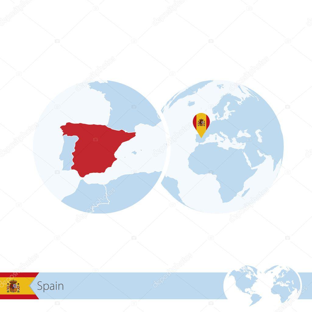 Regional Map Of Spain.Spain On World Globe With Flag And Regional Map Of Spain Stock