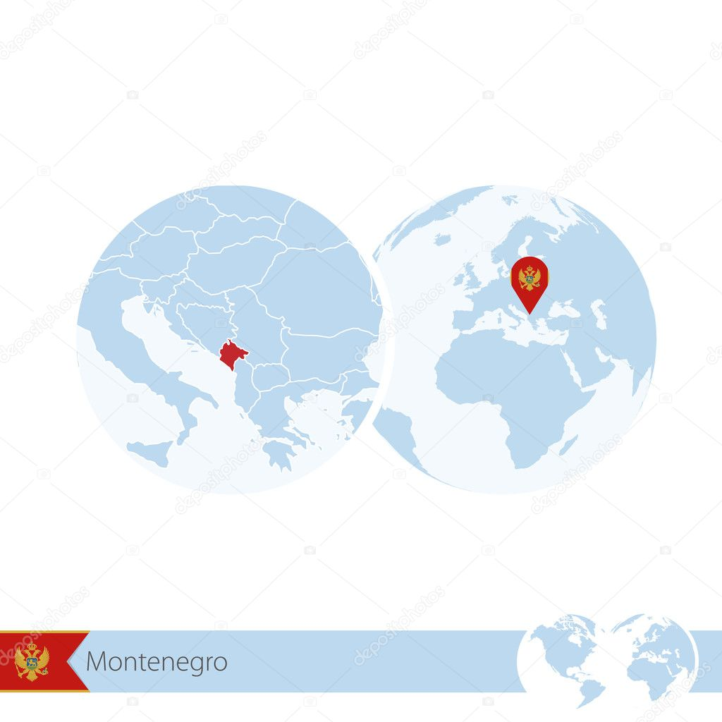 Montenegro On World Globe With Flag And Regional Map Of Montenegro