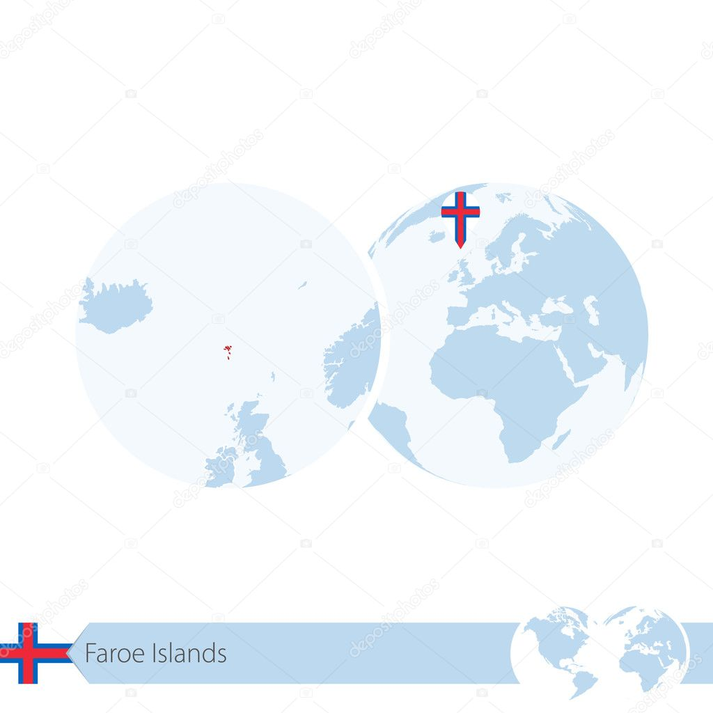 Faroe Islands on world globe with flag and regional map of ...