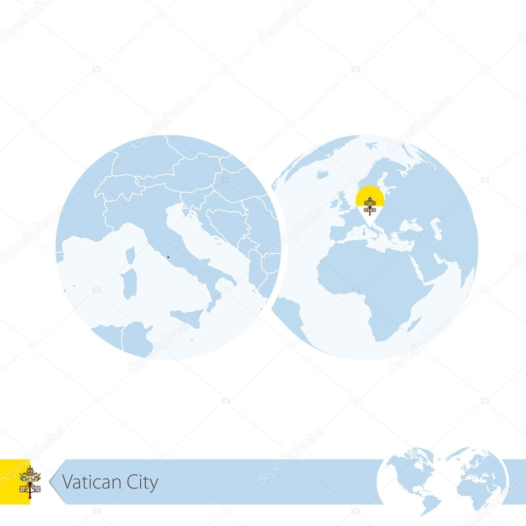 Vatican City On World Map.Vatican City On World Globe With Flag And Regional Map Of Vatican
