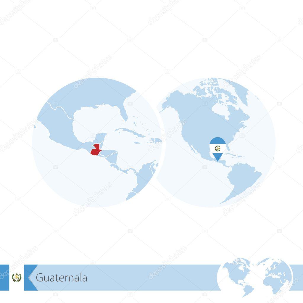 Guatemala on world globe with flag and regional map of Guatemala