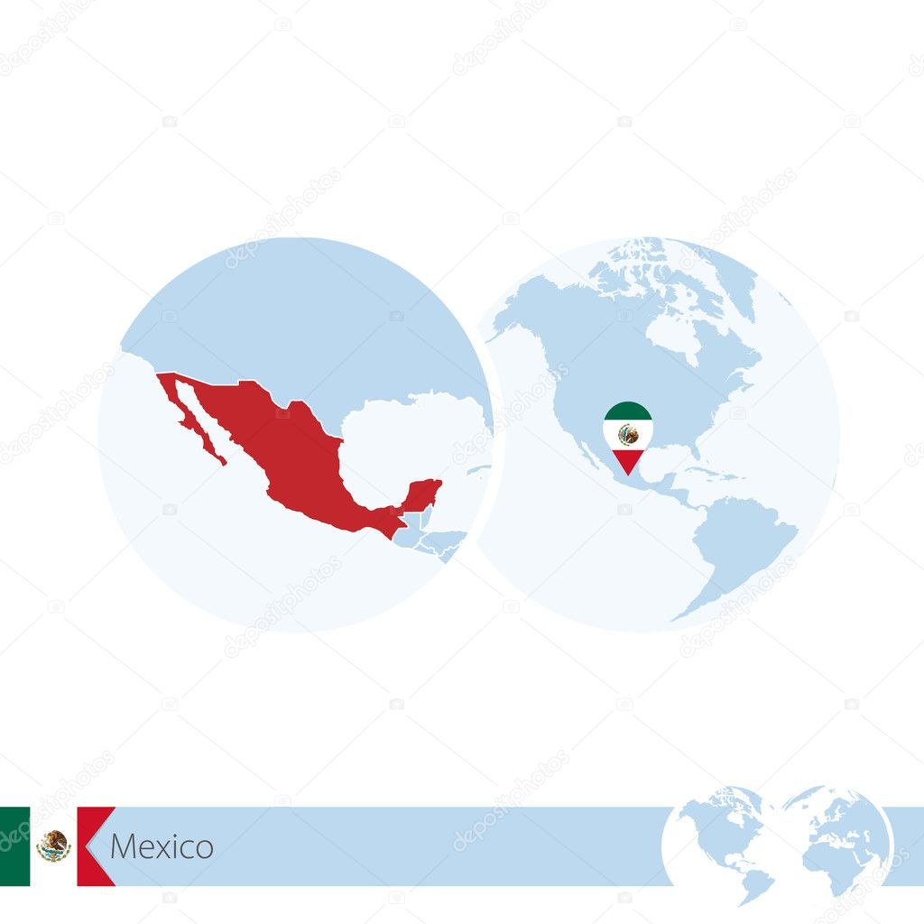 Mexico on world globe with flag and regional map of mexico stock mexico on world globe with flag and regional map of mexico stock vector gumiabroncs Images