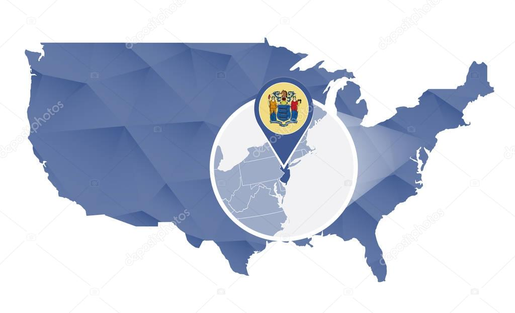 New Jersey State magnified on United States map Stock Vector