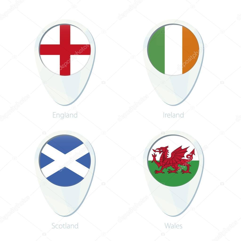 Inglaterra, Irlanda, Escocia, icono de la pin mapa de ubicación de ...