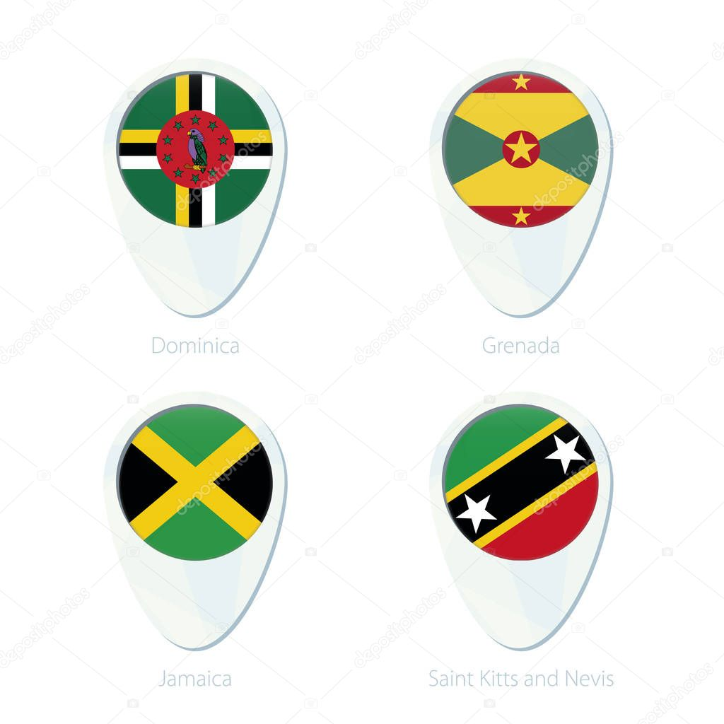 Dominica Grenada Jamaica Saint Kitis and Nevis flag location map