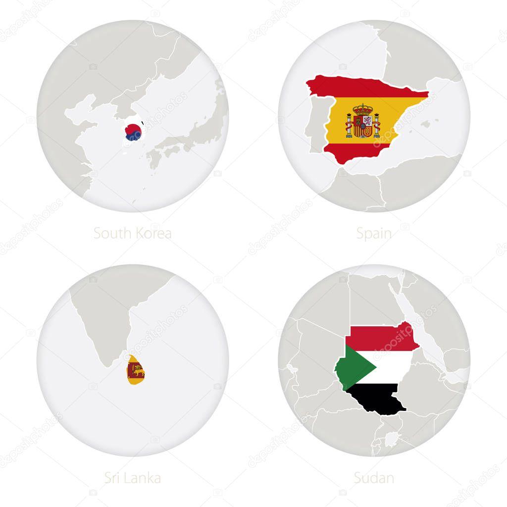 south korea spain sri lanka sudan map contour and national flag